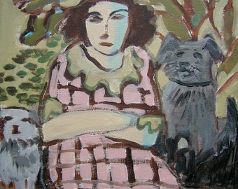 The Woman and Two Dogs