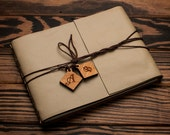 Leather Journal or Leather Sketchbook, Large Sized, Personalized Monogram Charms, Buttermilk Cream Leather Handbound Photo Album