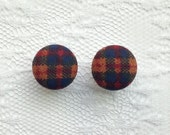 """Plaid Orange Blue and Red Fall Fabric Button Covered Plugs Gauges Size: 00g (10mm), 1/2"""" (12mm), 9/16"""" (14mm), 5/8"""" (16mm)"""