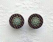 """Brown Gold and Blue Stripe Flower Button Plugs Gauges Size: 1/2"""" (12mm), 9/16"""" (14mm), 5/8"""" (16mm)"""