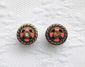 """Brass Coral Pink Yellow Jewel Center Ornate Pair Plugs Gauges Size: 00g (10mm), 1/2"""" (12mm)"""