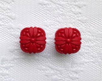 "LAST PAIR- Red Flower Design Button Pair Plugs Gauges Size: 1/2"" (12mm), 9/16"" (14mm)"
