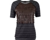 Leather fringe top with raglan sleeves, short sleeved fringe tshirt, sizes S-XXL