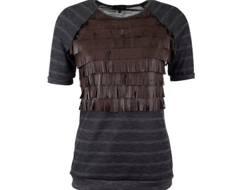 SUPER SALE Leather fringe top with raglan sleeves, short sleeved fringe tshirt, sizes S-XXL