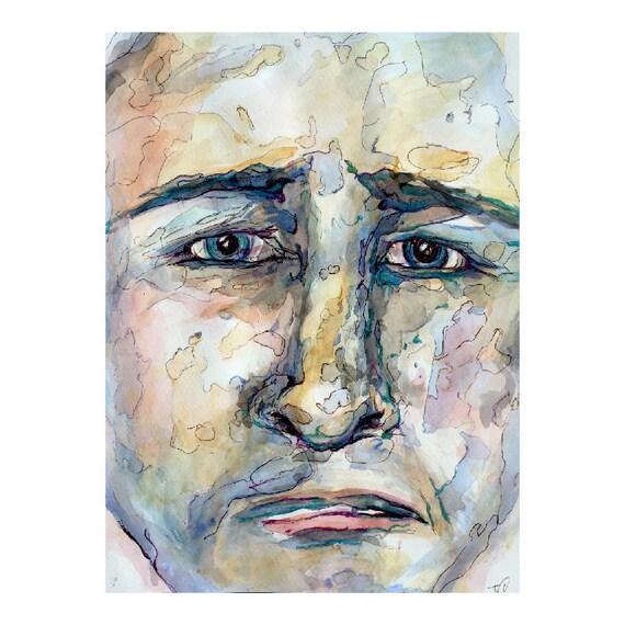 "Sad Face ORIGINAL ""Emotions - Sorrow"" Watercolor & Pen  by J Cashwell"