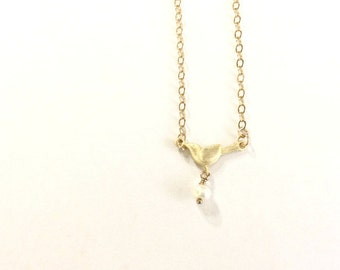 Baby Bird - Tiny Bird Gold Filled Gold Vermeil Sterling Silver Necklace - Handmade Jewelry