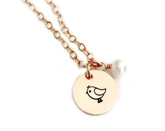 Pudgy The Bird - Rose Gold Filled Hand Stamped Bird Necklace Pendant Jewelry