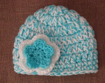 Baby Girl Double Flower Hat in Turquoise and White