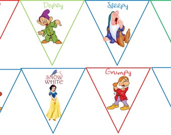 Disney Cartoon Snow White 7 dwarfs large party banner party decoration