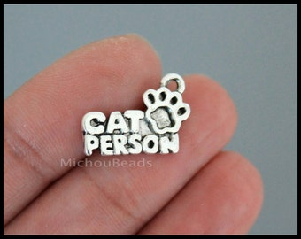 BULK 25 CAT Person Paw Charm Pendants - 18mm Antiqued Silver Carved Word Message Animal Feline Pet Charm - Instant Ship - USA Discount 6452