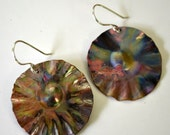 Flame painted copper disk earrings.