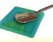 TINY AQUA & LIME Spoon Rest Teabag Holder Fused Glass Dish AL3