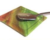 GREEN & RED ORANGE Spoon Rest Teabag Holder Fused Glass Dish GR1