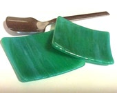SHINY AQUA & LIME Tiny TeaBag Holder Spoon Rest Dish Fused Glass AL4