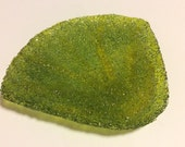 SEASHELL SOAP DISH Green & Chartreuse Transparent Fused Glass Shell