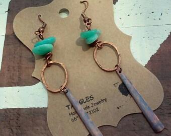 Copper Oxidized Dangle Earrings