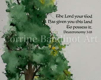 Watercolor painting of Old Oak Tree with Bible verse original fine art land
