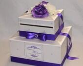 Elegant Purple and White Wedding Card Box-Purple/White Flower Topper-Rhinestone accents