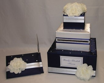 Navy Blue and White Wedding Card Box and matching Guest Book with Pen
