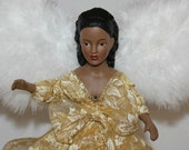 Angel Tree Topper, African American Angel Tree Topper, Angel Centerpiece, Holiday Decoration, Gold, White, Poinsettia