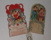 01 RARE antique Victorian 3D valentine greeting card lot hearts flowers children old scrap paper art supplies vintage pink die cut