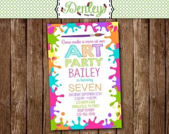 Art Party Birthday Invitation, Art Invite, Art Paint Party, Paint Invite, Printable, Paint Invitation (AR03)