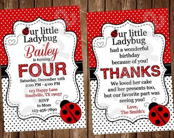 Ladybug Invitation, Lady Bug Party, Lady Bug Theme, Lady Bug Invite (LB01)