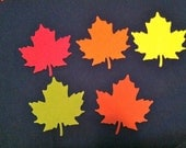 25 FALL COLORS  Maple leaf  paper punch, green, red, orange, yellow and rust die cuts, 2 AND 1 fourth inch in size Hand punched