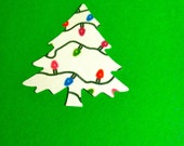 24 white with holiday lights Christmas Tree paper punch, die cuts, 2 inch Hand punched