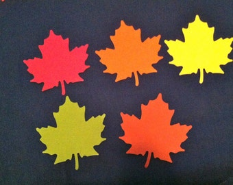 900 pcs FALL COLORS  Maple leaf , red, green, rust, orange and yellow die cuts, 2 and 1 fourth inch.