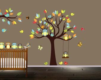 Childrens Owl Wall Decals Nursery Tree Stickers Tree Birds Owls Butterflies Patterns Branch
