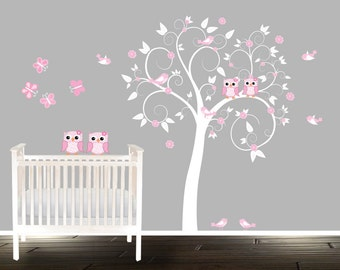 Girls Room Nursery Tree Wall Decal Stickers Pink Owl Wall Decals Swirly White Tree Birds Owls Branch