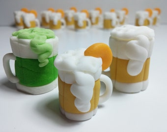 Beer Mugs, Edible Fondant, Cookie or Cupcake Toppers