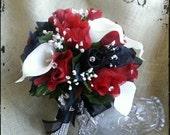 Red black silk roses calla lily bride bridal wedding flower bouquet