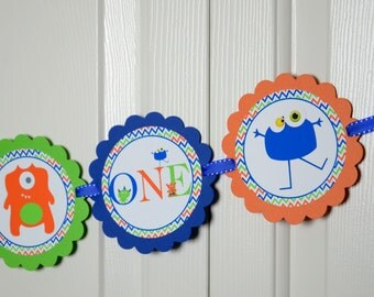 Monster I am 1 Banner, Monster Banner, Birthday Party, Monster Theme, Monster sign, Royal Blue, Orange and Lime Green
