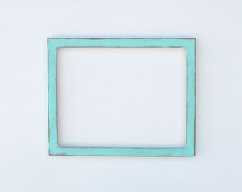11x14 aqua frame - distressed aqua and brown picture frame