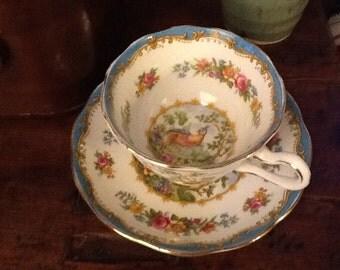 Vintage Royal Albert Teacup and Saucer Chelsea Bird Pattern Blue Trim 1930s