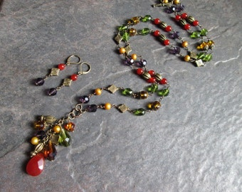 "Extra Long Beaded Necklace and Earrings set Rosary Style Carnelian Pearls and Czech glass beads  Antique Bronze Fall colors 36"" necklace"