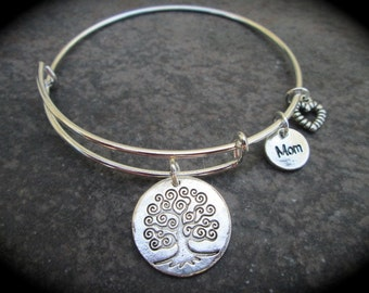 Tree of Life adjustable bangle bracelet with Mom and Heart Charms with Life Begins and Love never ends message on back Gift for Mom