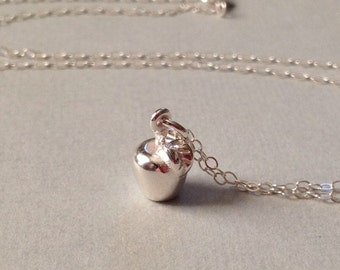 Tiny Apple Necklace in Sterling Silver -Apple Necklace in Silver -Lovely Gift for Teacher