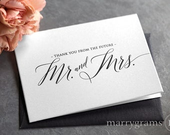 Wedding Bridal Shower Thank You Cards, Thank You From the Future Mr. & Mrs. Thank You Notes, Wedding Shower, Shower Gift (Set of 10) CS13
