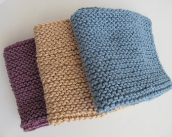 Set of Three Handknit Cotton Cloths, Wash Cloths, Dish Cloths, Dust Cloths.