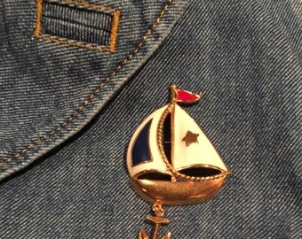 Sail Boat Brooch Vintage Avon Enamel pin Nautical