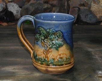 Handmade Stoneware  16 ounce Mug with Tree Design