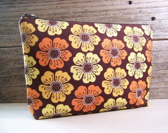 Extra large cosmetic bag - Make up bag clutch in beautiful brown vintage looking fabric with yellow and orange flowers , large make up bag.