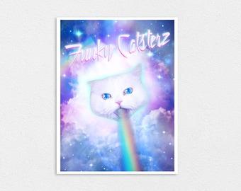 Rainbow Cat God - 8x10 Print Kawaii Nyan Kitten Space Cat Laser Cat Heaven Angel Pastel Cute Galaxy Cosmos