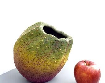 Organic polymer clay vase, vessel.  Organic Handmade vase, vessel. Organic style. Mango colour vase, vessel.