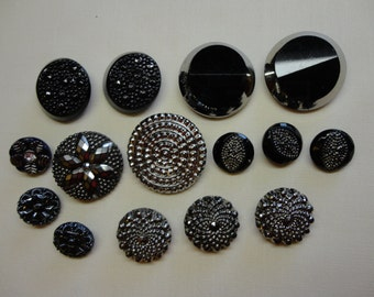 Vintage Glass Buttons 1940s/50s - Lot of 15 black - high relief patterns reflecting silver highlights, sets of two & three - three single