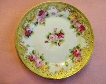 """Vintage Decorator Plate 1920s - """"Hand Painted"""" procelain, Pink Roses, high relief wide Gold scroll & line design border, """"Noritake/Nippon"""""""