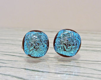 Dichroic Fused Glass Earring Posts Teal Blue Silver Jewelry Womens Accessories Gifts for Her Under 15 Dollars Gifts for Mom Birthday for Her